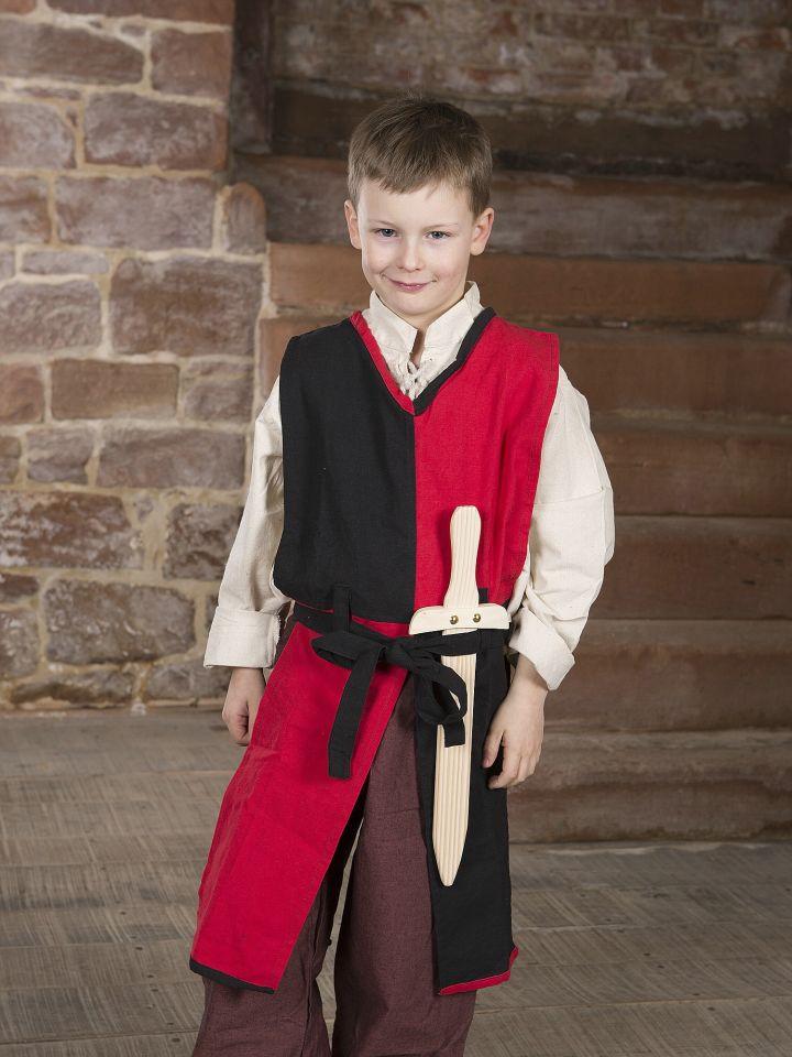 Kinder-Waffenrock mit Bindegürtel rot-schwarz