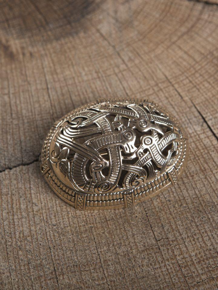 Große Ovalfibel mit Drache aus Bronze