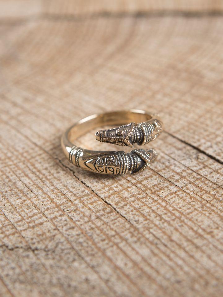 Drachenkopfring aus Bronze klein