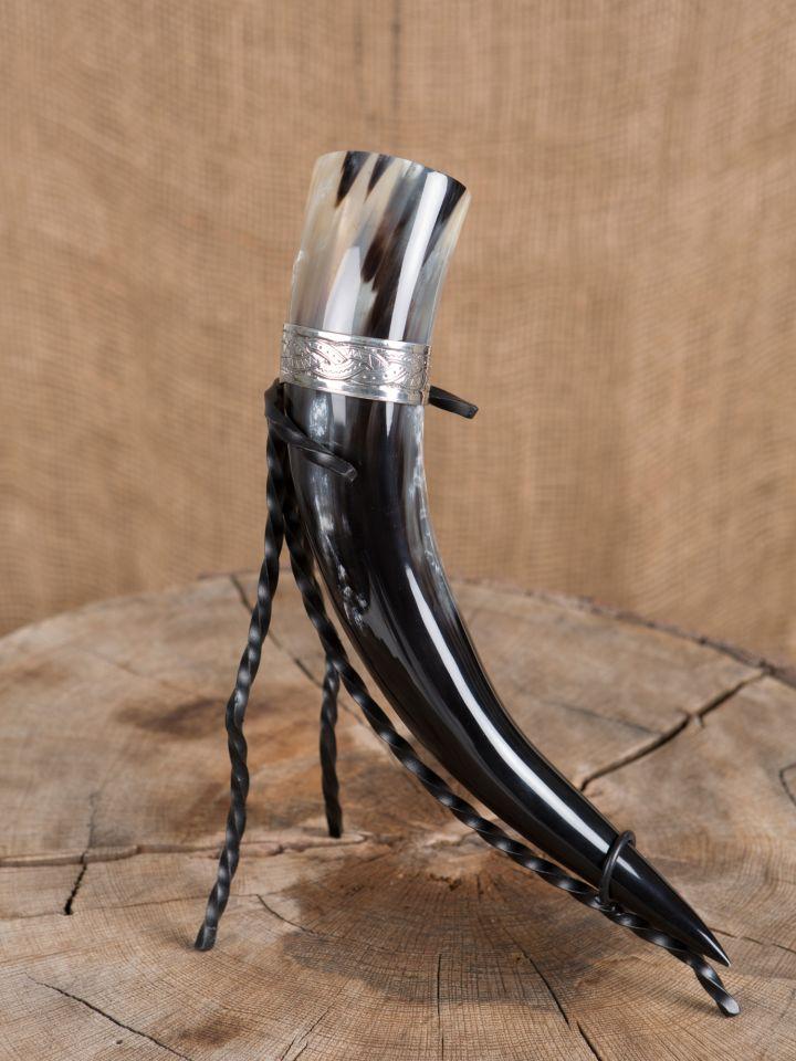 Trinkhorn 0,5 l mit Wikinger-Zinnband