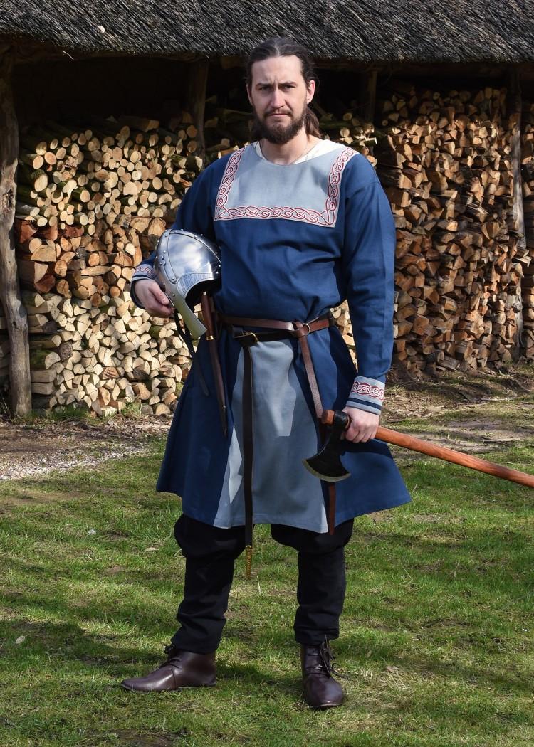 ritterladen   wikinger tunika mit stickereien blau