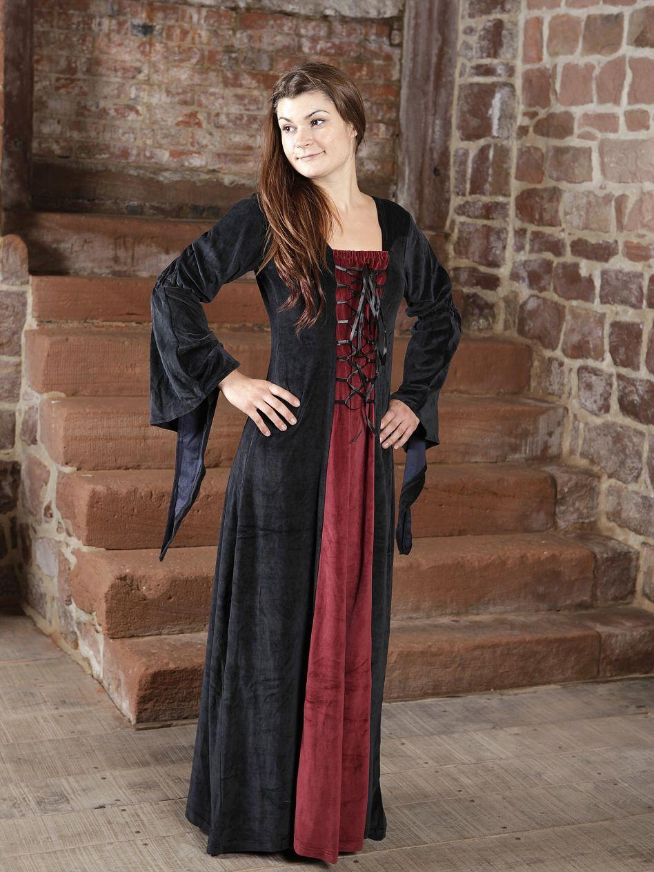 wähle das Neueste günstig kaufen neue Kollektion Ritterladen | Samtkleid schwarz-rot | Mittelalter Shop