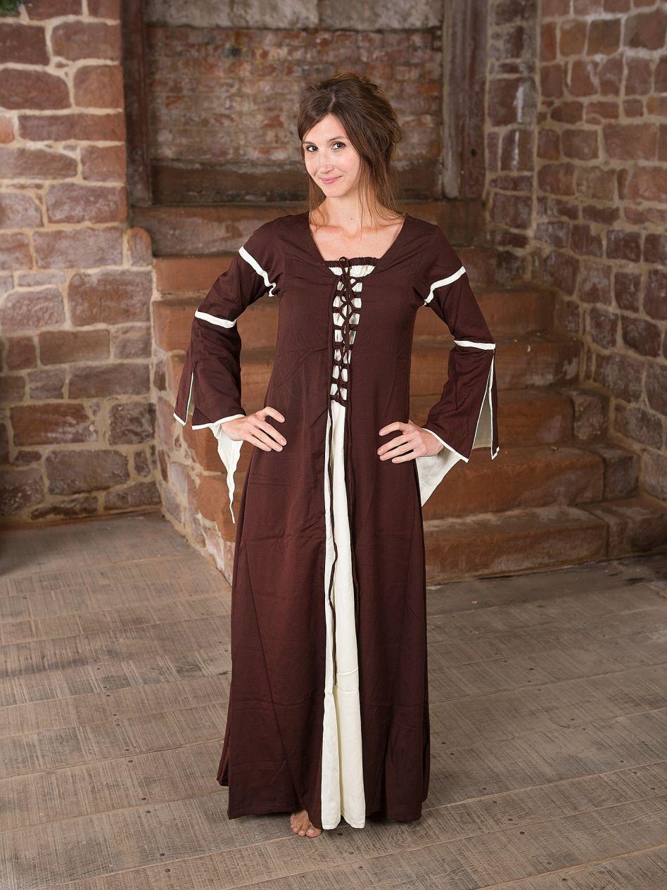 Ritterladen   Kleid mit Trompetenärmeln, braun-natur   Mittelalter Shop 3e40c62aef
