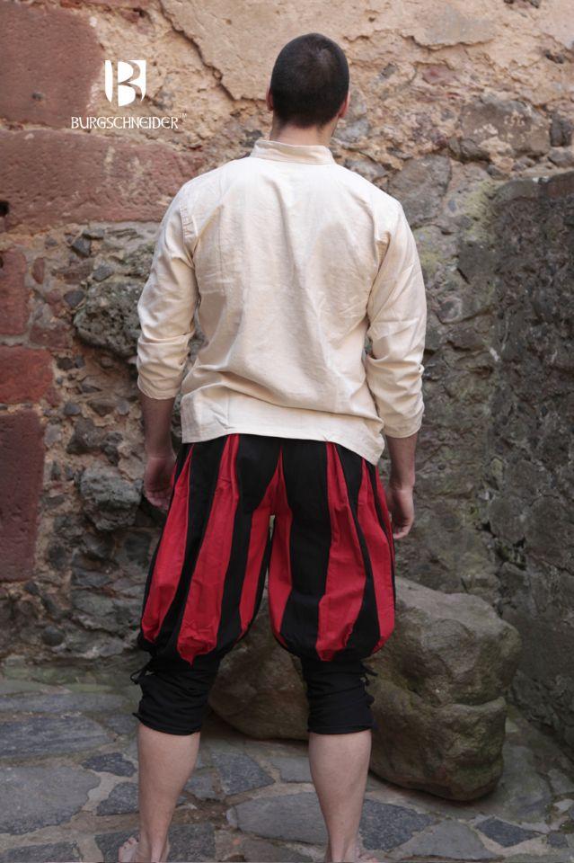 kurze Landsknechthose Maximilian, schwarz/rot 2