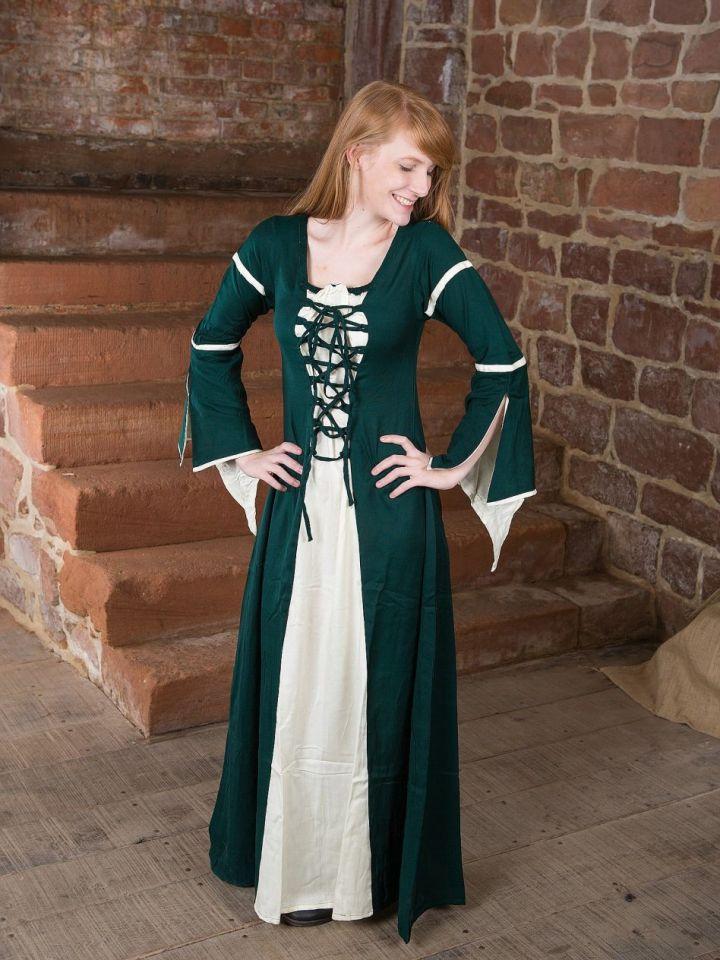 Kleid mit Trompetenärmeln, grün-natur XS 2