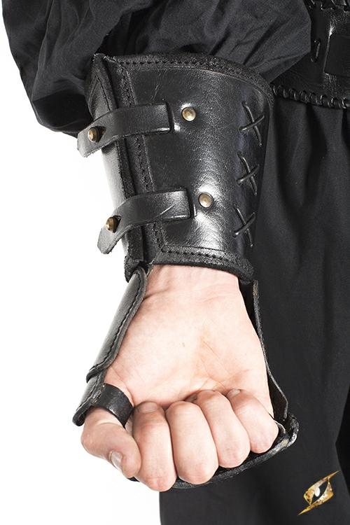 Schwarzer Panzerhandschuh aus Leder für die linke Hand 2
