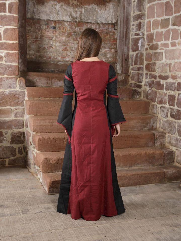 Mittelalterkleid aus Viskose schwarz-rot XL 2