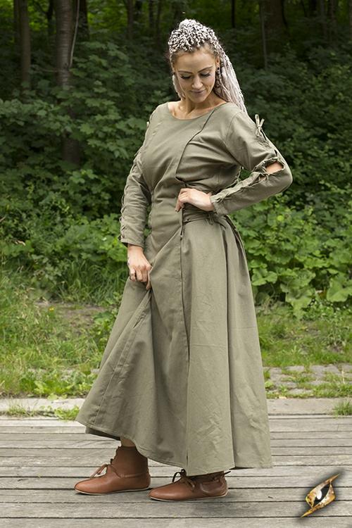 Kleid mit Schnürung grün S 2