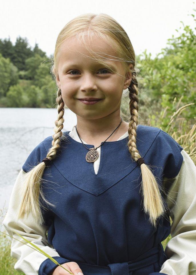 Wikingerkleid für Kinder blau/natur 2