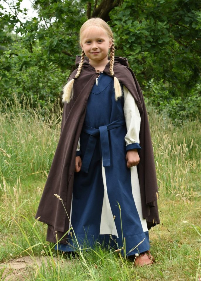 Mittelalter-Umhang für Kinder braun 128 2