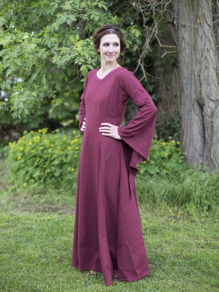 Edles Kleid mit Trompetenärmeln rot 2