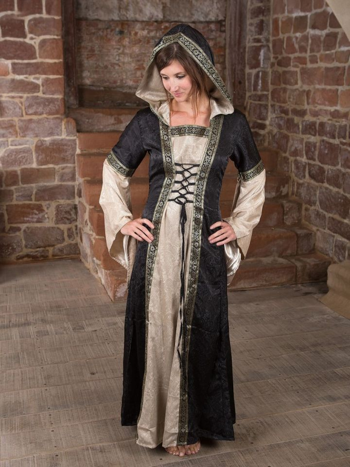 Mittelalterkleid mit Kapuze in schwarz-natur L/XL 2