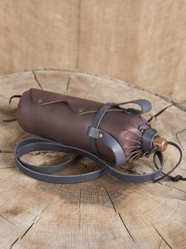 Trinkflasche aus Leder braun 2