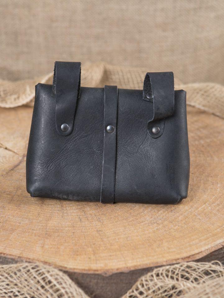 Mittelaltertasche mit Beschlägen schwarz 2
