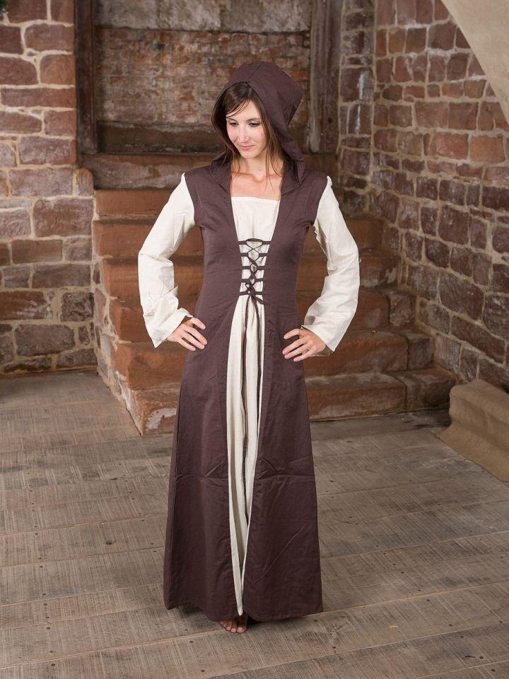 Mittelalterkleid mit Kapuze in natur-braun L/XL 2