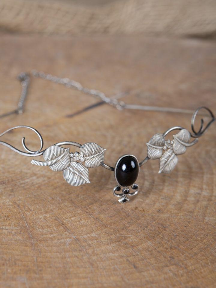 Kronen-Tiara mit Blättern und schwarzem Schmuckstein 2