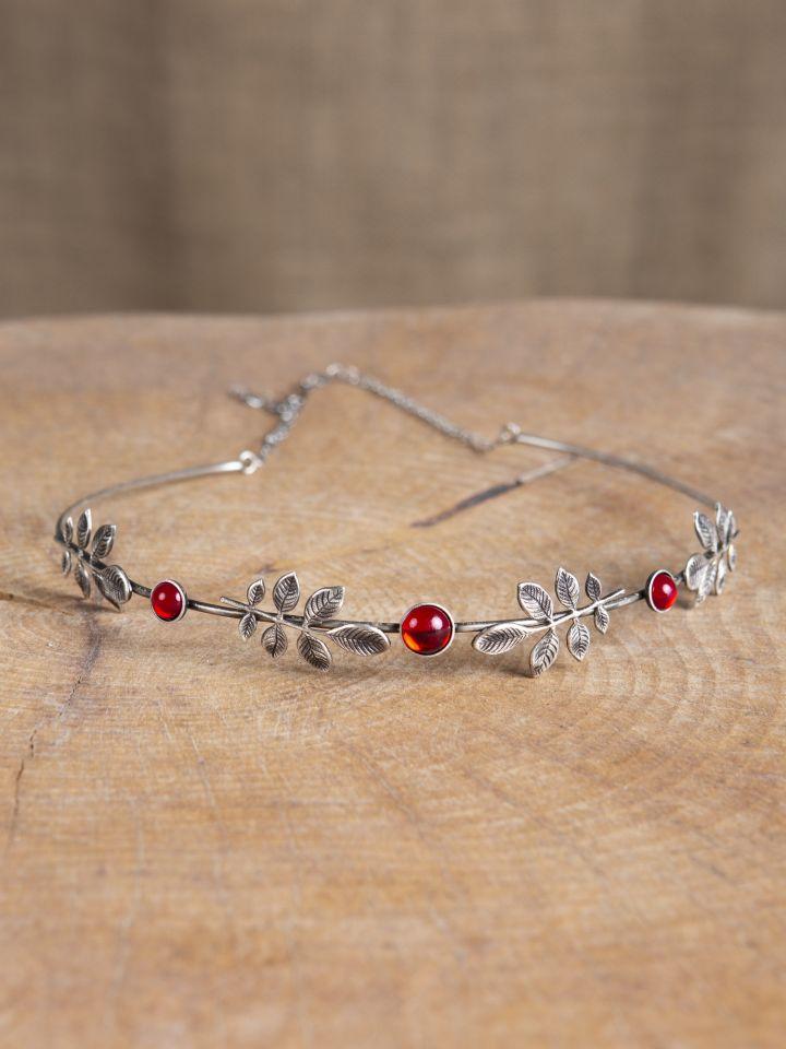 Diadem mit Zweigen und roten Schmucksteinen 2