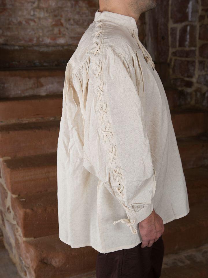 Mittelalterhemd mit geschnürten Ärmeln, natur 2