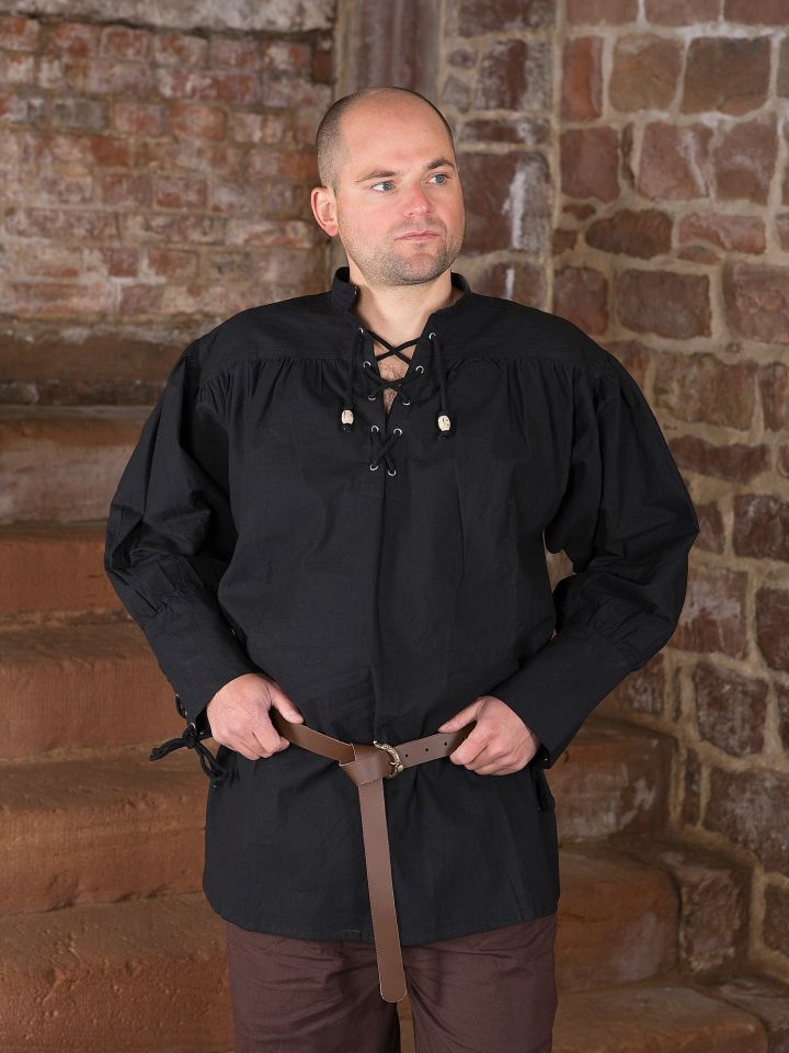 schwarzes Hemd mit geschnürten Manschetten M 2
