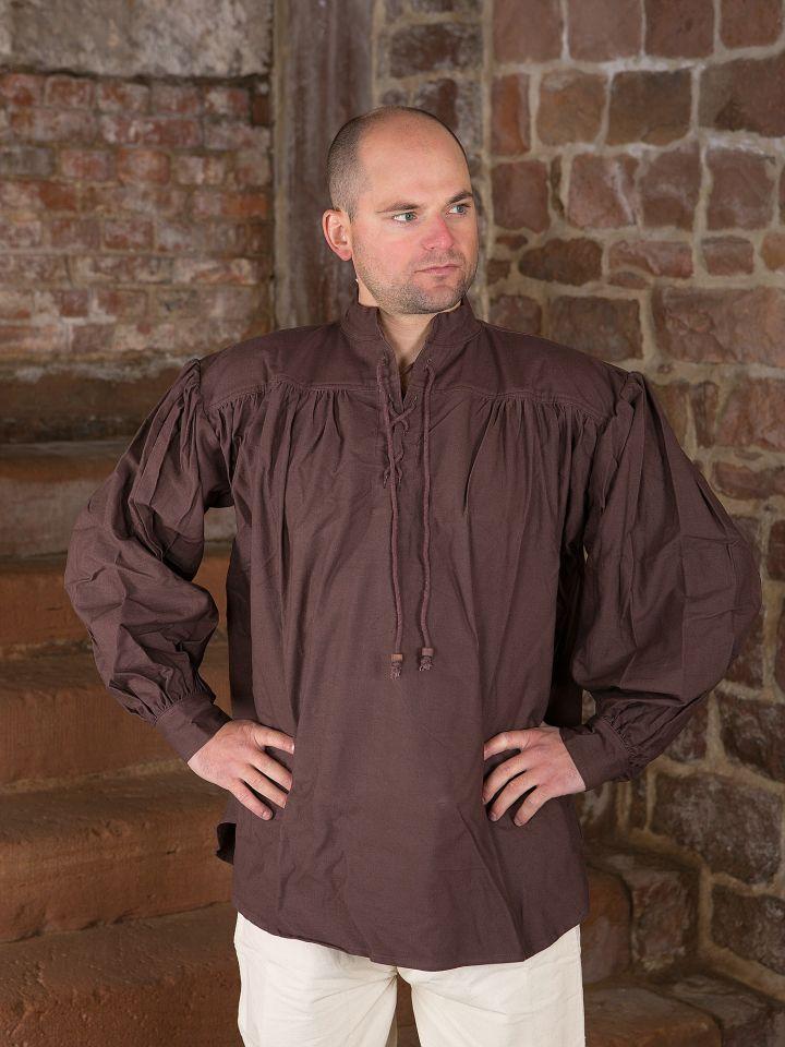 Mittelalterhemd aus dickem Stoff dunkelbraun 2
