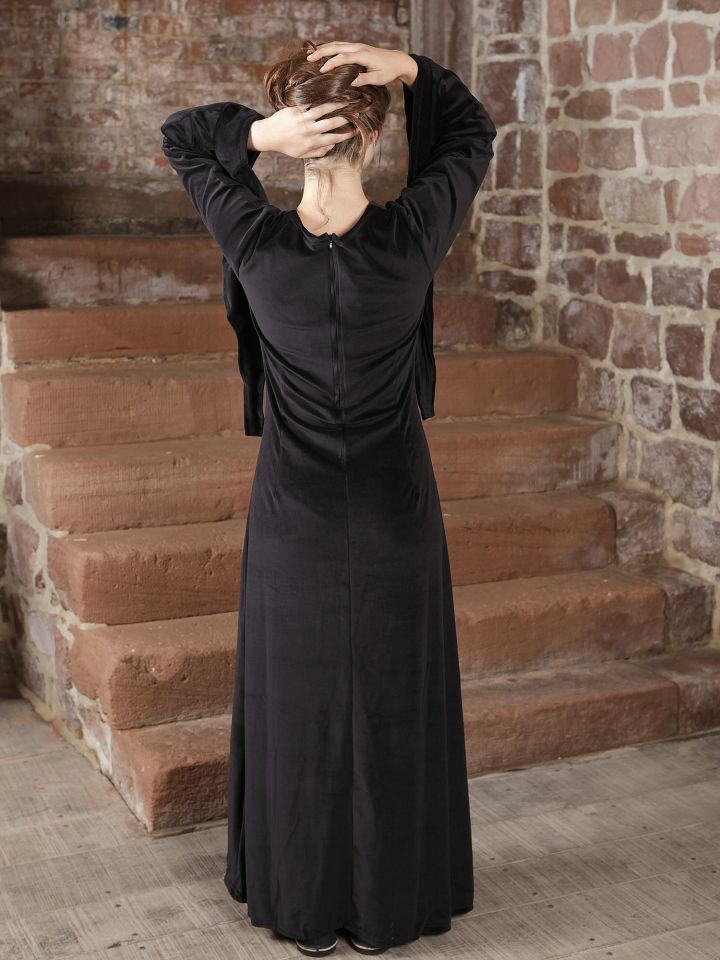 Samtkleid - Abendkleid, Mittelalter, Halloween schwarz 2