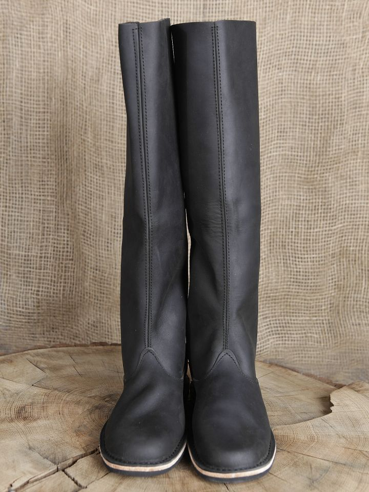 Hohe Lederstiefel aus Nubukleder schwarz 2