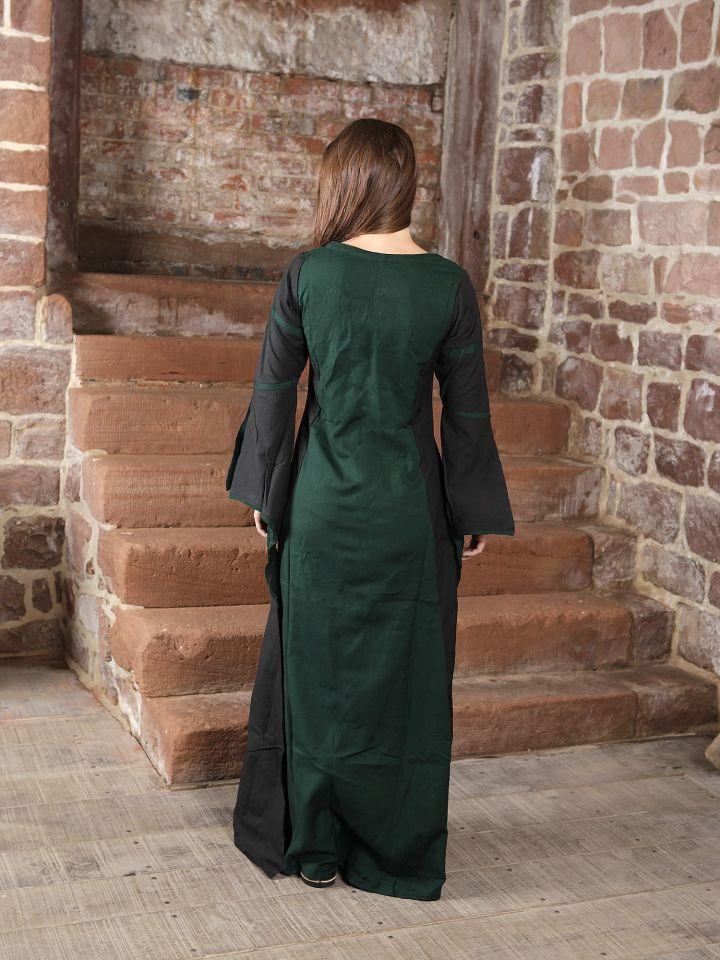 Mittelalterkleid aus Viskose schwarz-grün 2