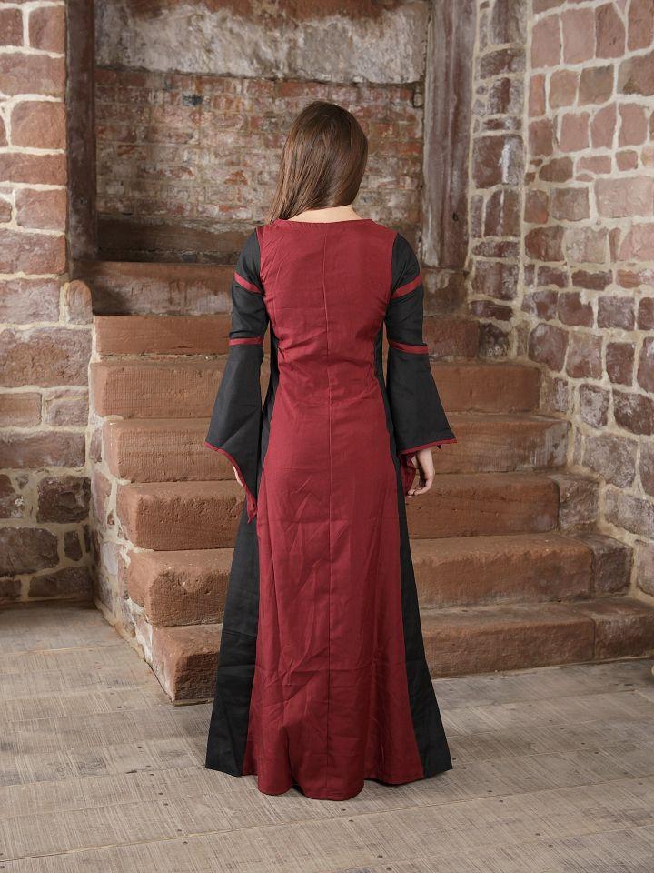 Mittelalterkleid aus Viskose schwarz-rot 2