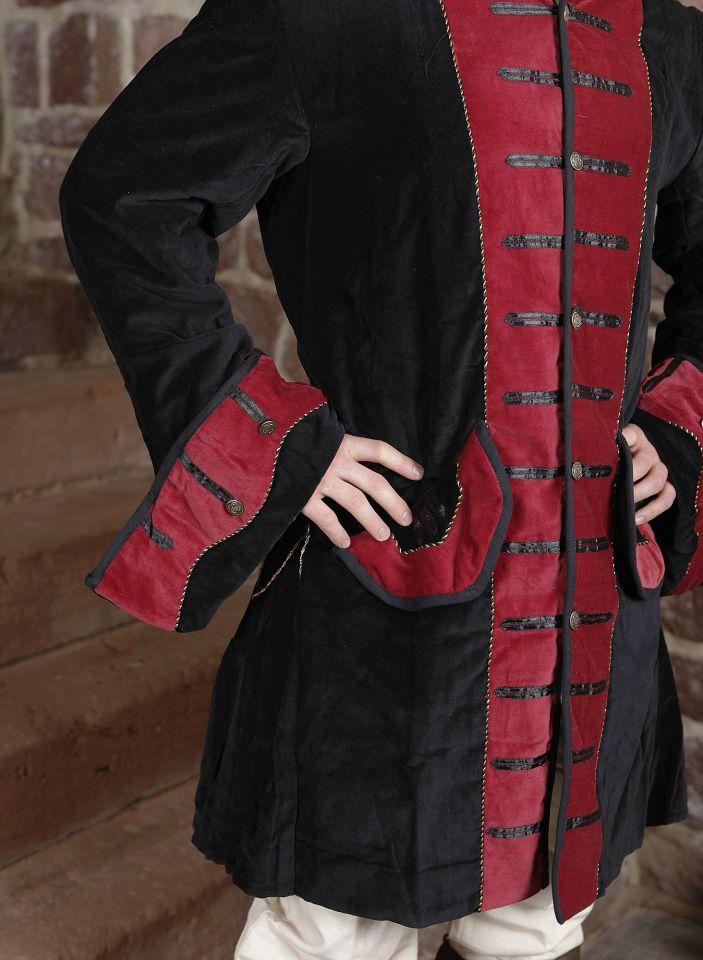 Prunkjacke Gehrock in schwarz-rot 2