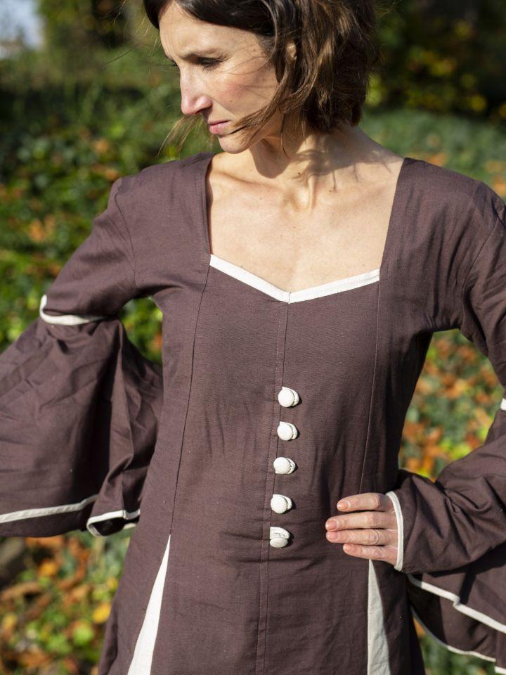 Mittelalterkleid mit Zierknöpfen braun-natur 2