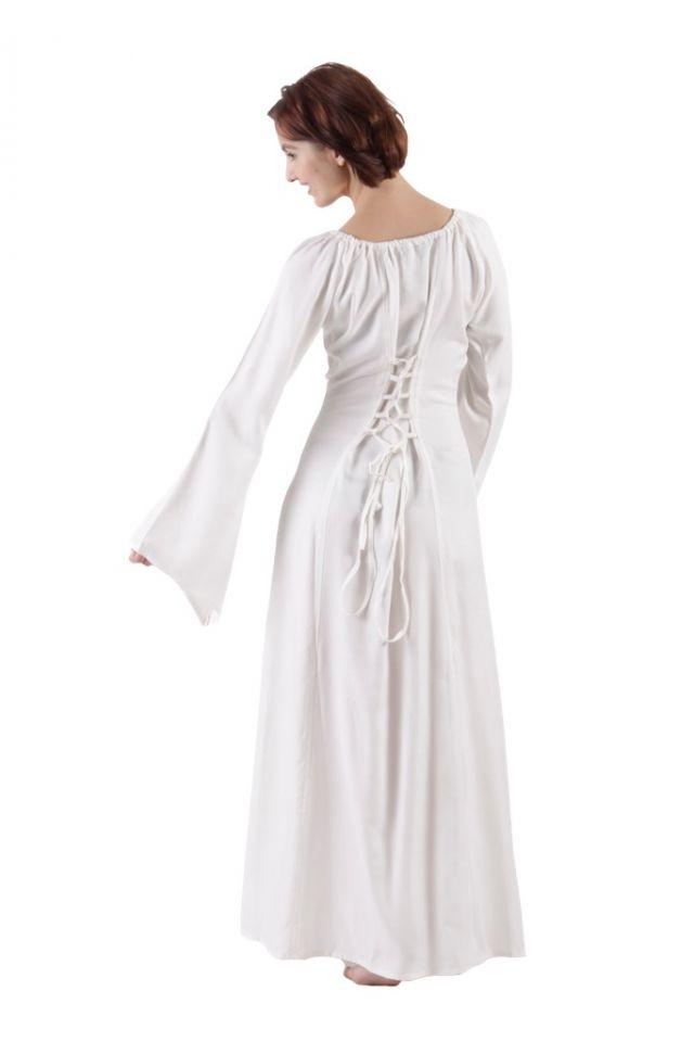 Schlichtes Mittelalterkleid aus Viskose weiß 2