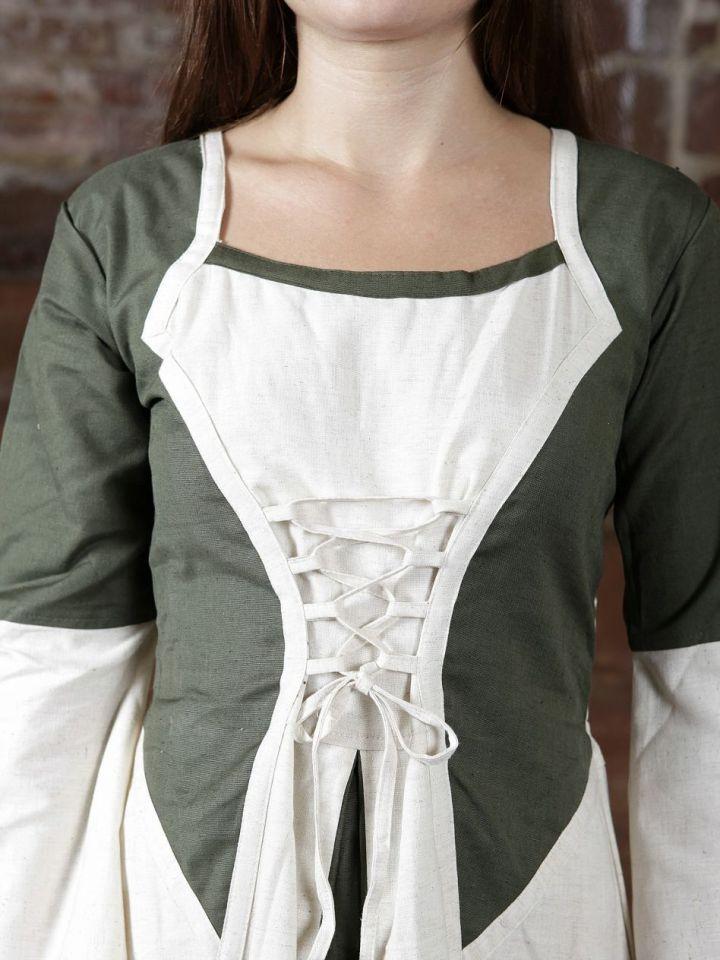 Kleid zweifarbig mit Schnürung in natur-olive S/M 2