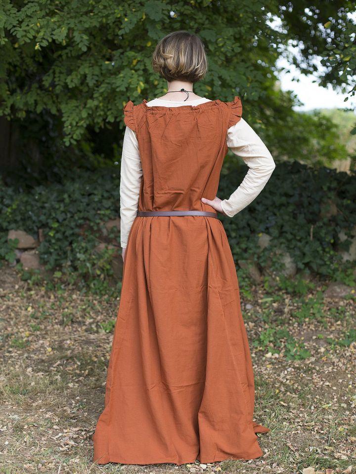 Ärmelloses Kleid mit Schulterrüsche rostrot 2