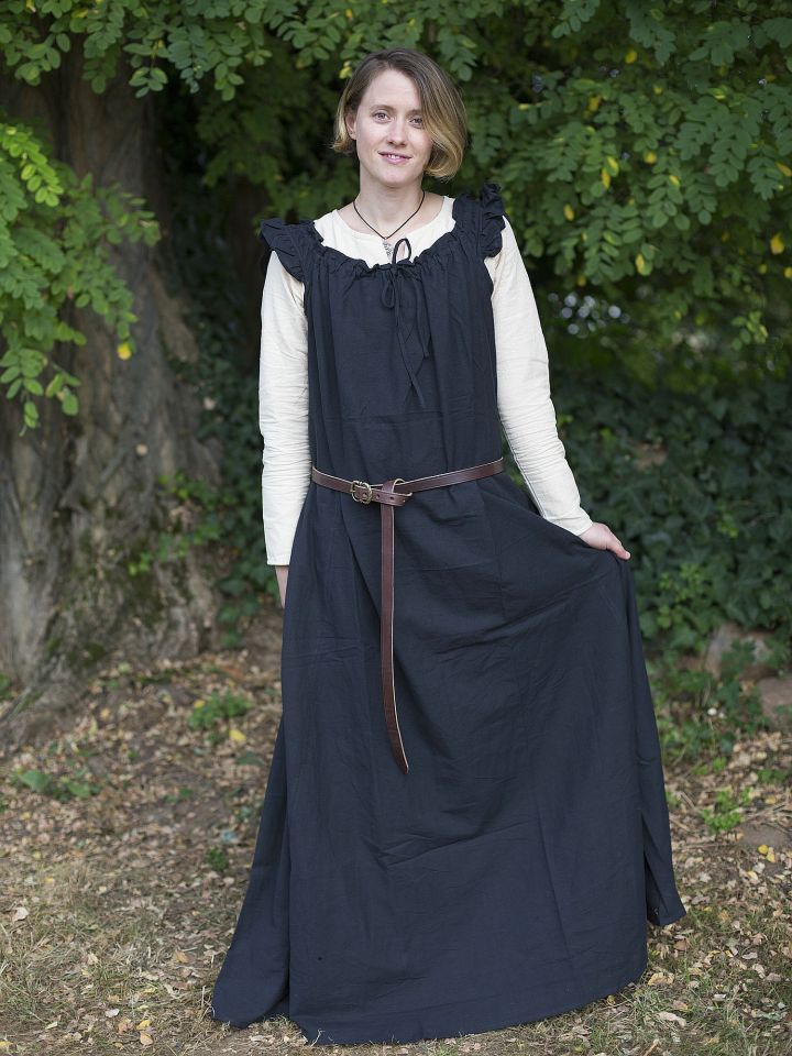 Ärmelloses Kleid mit Schulterrüsche schwarz 2