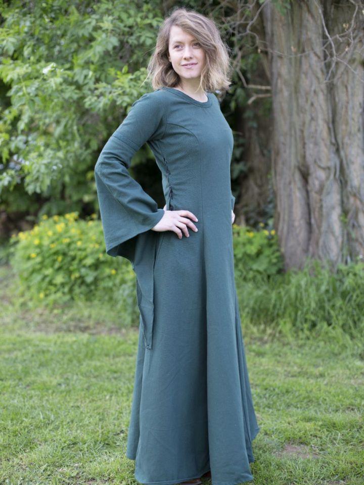 Edles Kleid mit Trompetenärmeln grün L 2
