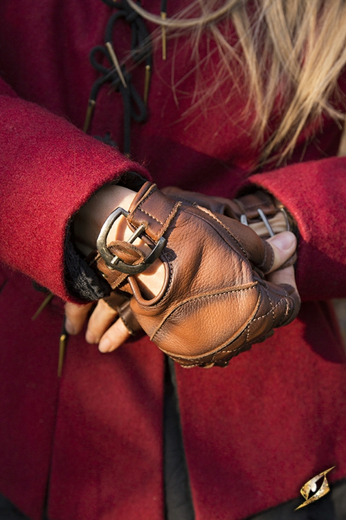 Keltische Lederhandschuhe braun S 2