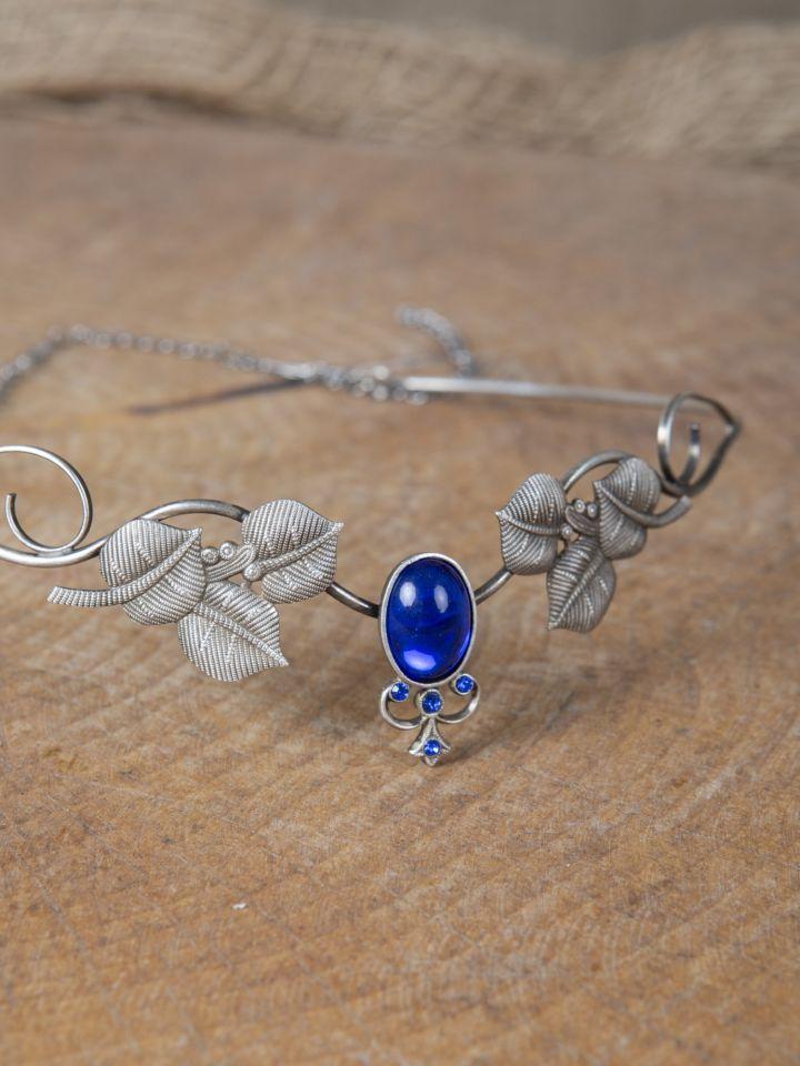 Kronen-Tiara mit Blättern und blauem Schmuckstein 2