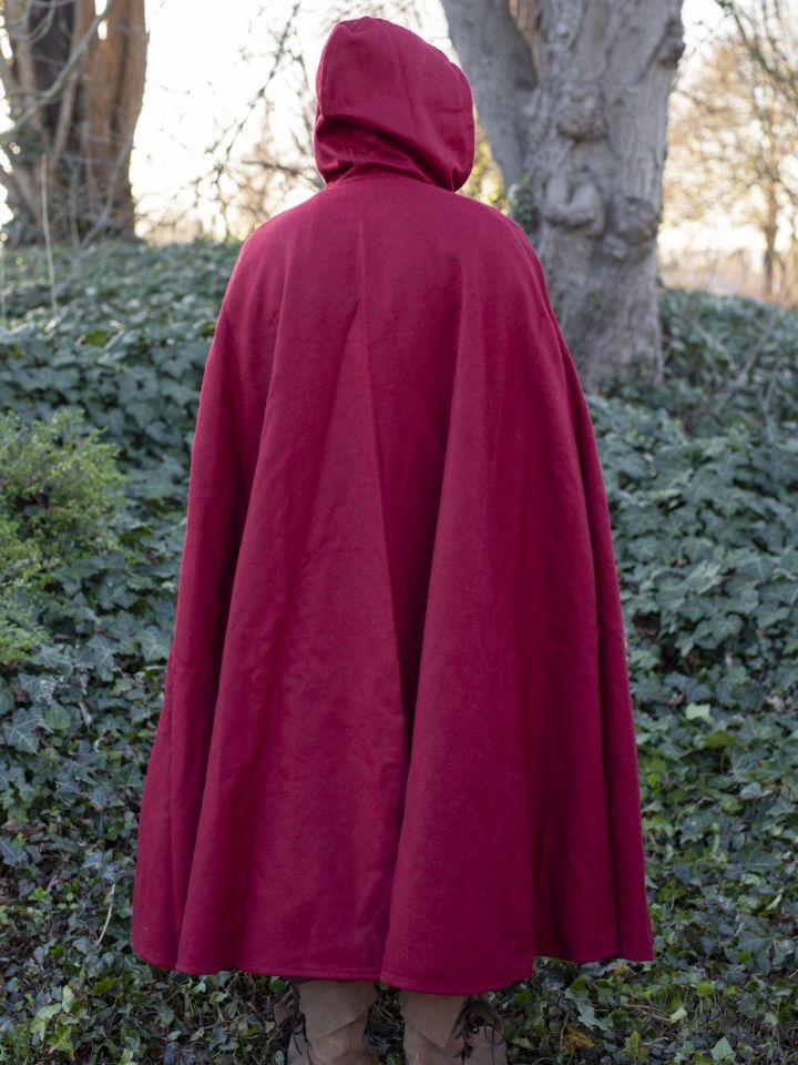 Umhang aus Wolle (mit Kapuze) rot 2