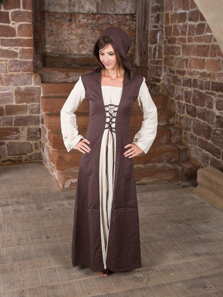 Mittelalterkleid mit Kapuze in natur-braun 2