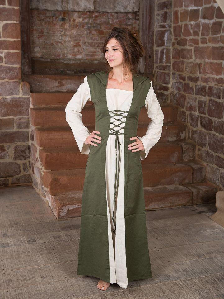 Mittelalterkleid mit Kapuze in natur-olive 2