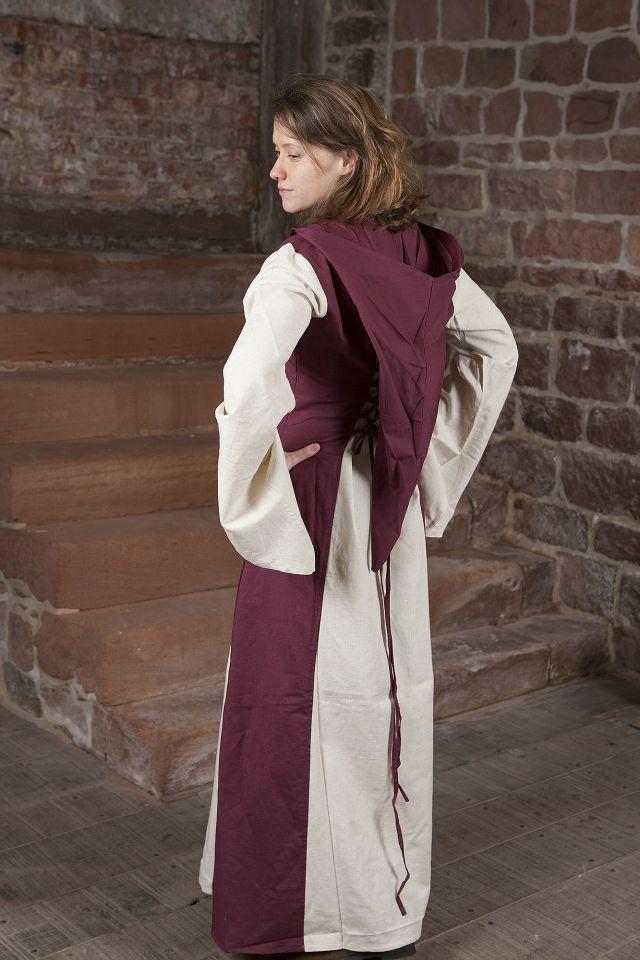 Mittelalterkleid mit Kapuze in weinrot-natur 2