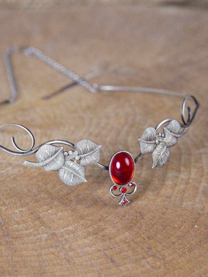 Kronen-Tiara mit Blättern und rotem Schmuckstein 2