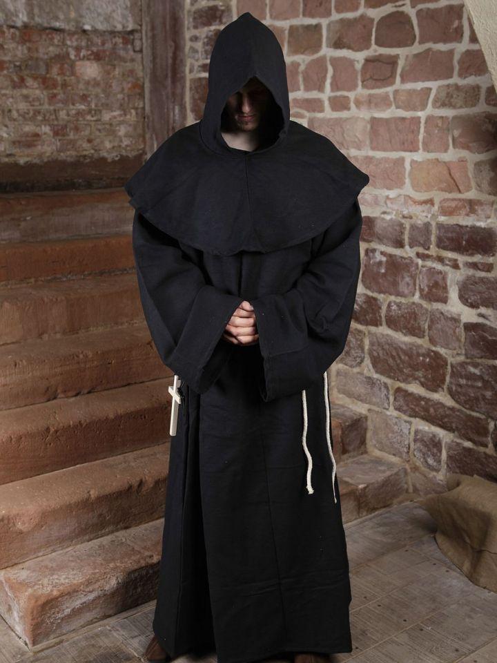 Mönchskutte (mit Kapuze und Seil) schwarz | ohne Kreuz 2