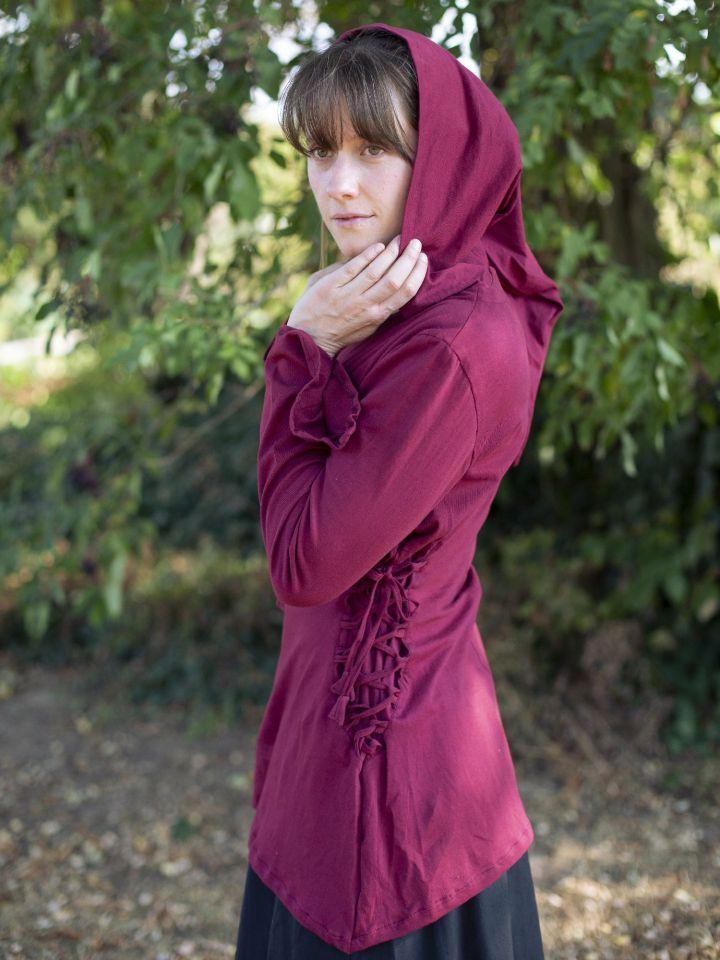 Bluse mit Zipfelkapuze bordeauxrot M 2