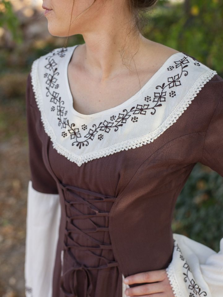 Mittelalterkleid mit Stickerei braun-weiß S/M 2