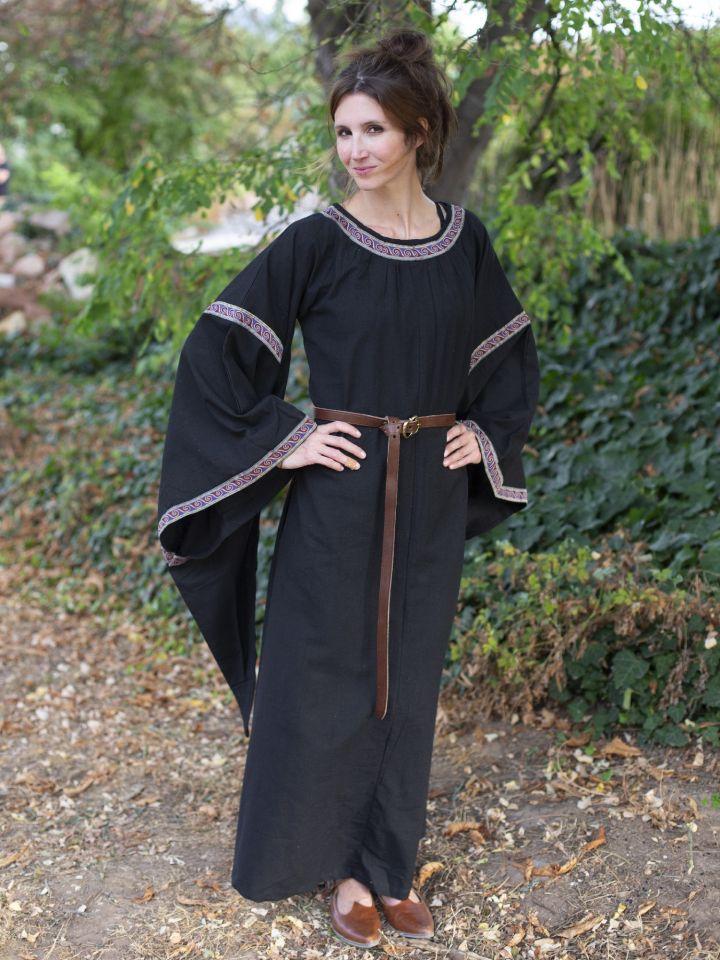 Mittelalterkleid mit Bordüre schwarz 2