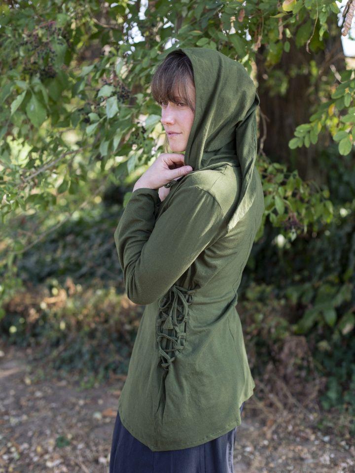 Bluse mit Zipfelkapuze grün 2