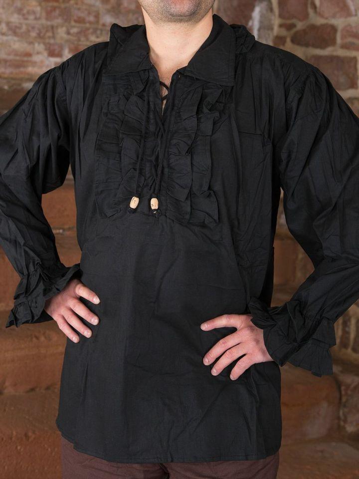 schwarzes Rüschenhemd M 2