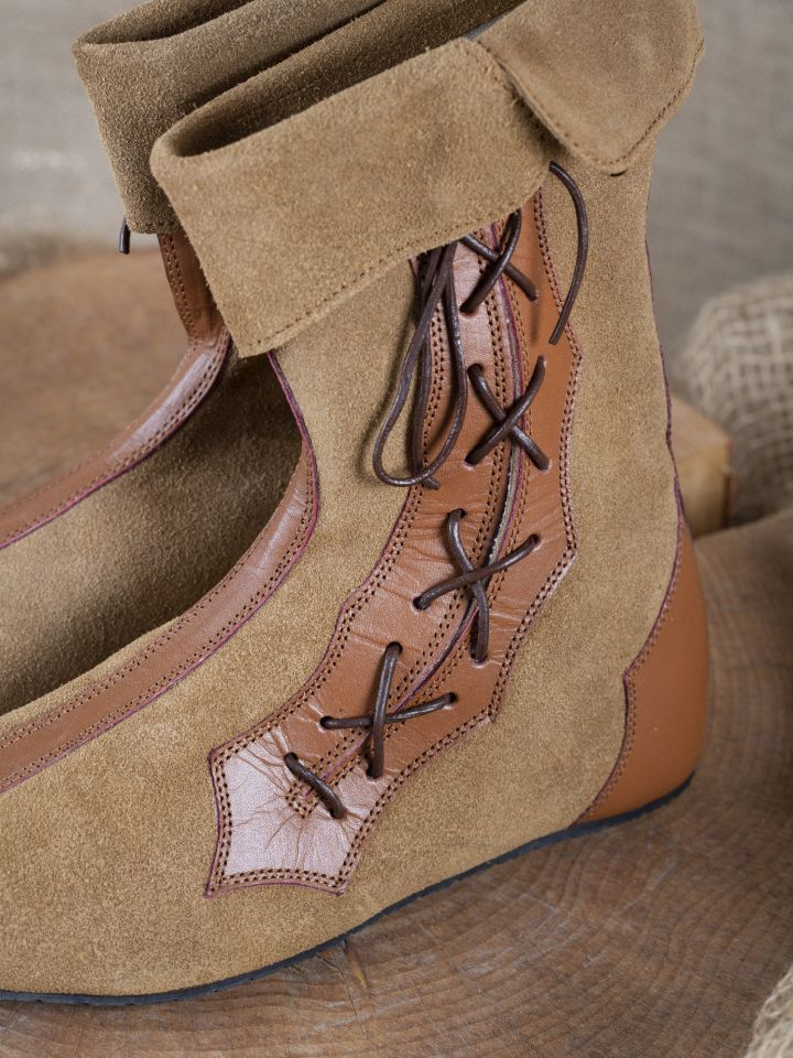 Mittelalter Stiefel mit Seitenschnürung braun 2