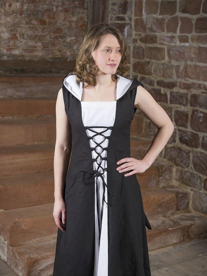Mittelalterkleid Lucia schwarz-weiß 2